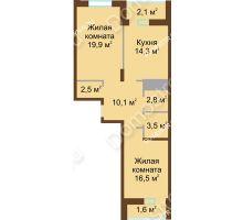 2 комнатная квартира 73,3 м² в ЖК Монолит, дом № 89, корп. 1, 2 - планировка