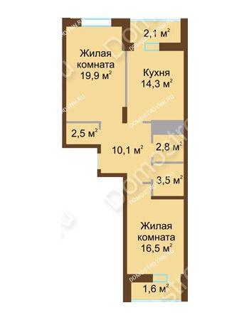 2 комнатная квартира 73,3 м² в ЖК Монолит, дом № 89, корп. 1, 2
