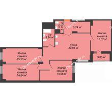 4 комнатная квартира 108,94 м² в ЖК Карамель, дом № 1 - планировка