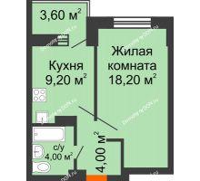1 комнатная квартира 39 м², ЖК Zапад (Запад) - планировка